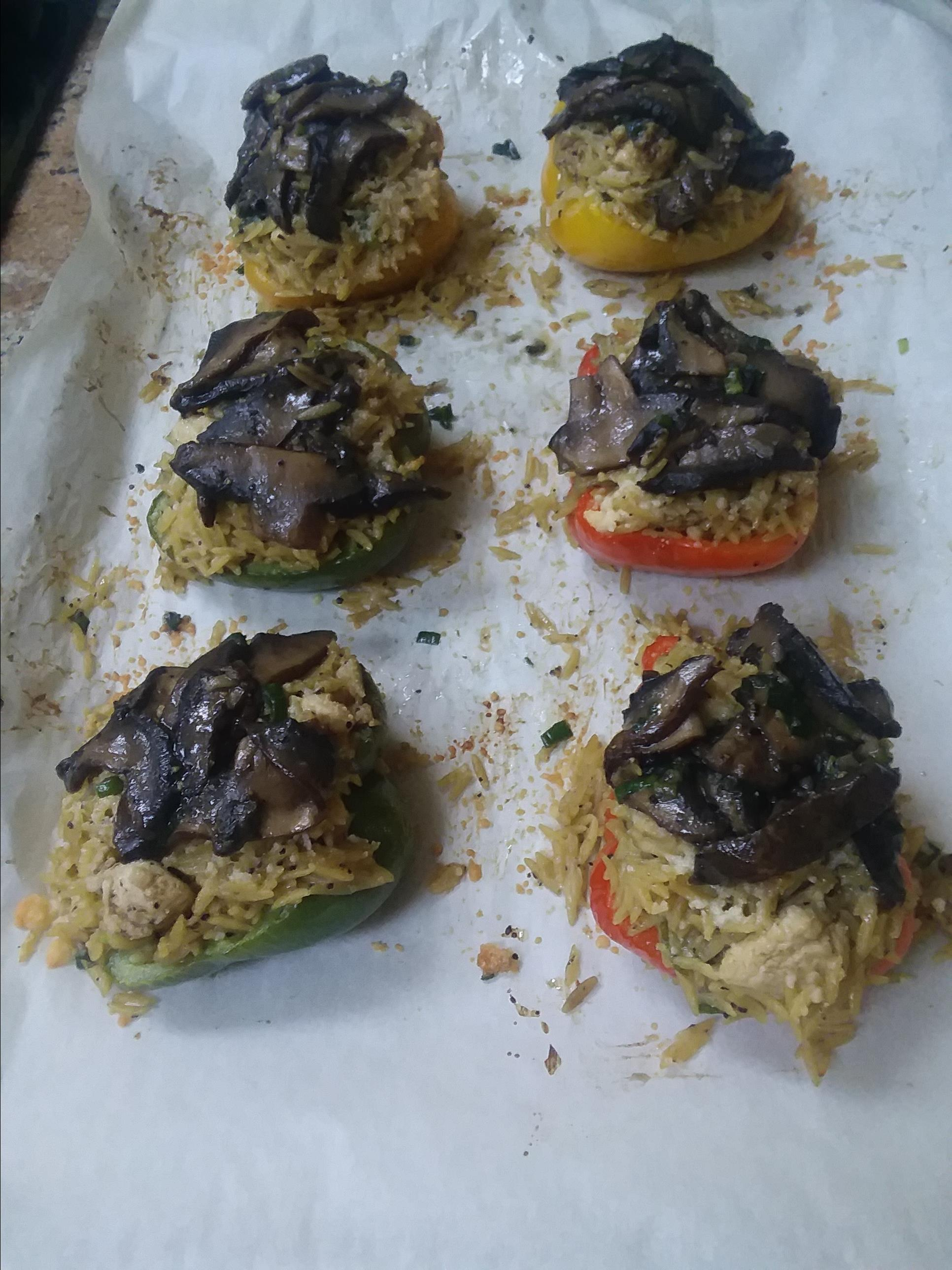 Orzo and Chicken Stuffed Peppers