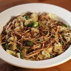 Whole Wheat Spaghetti with Cauliflower and Green Olives