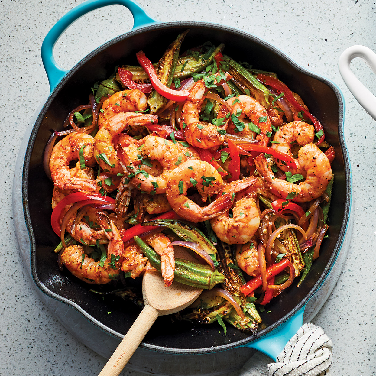 Serve spicy blackened shrimp and tender vegetables over aromatic basmati rice for an easy skillet supper. Use precooked microwave rice so you don't have to mess up another pan. This one-pan dinner is perfect for company, but easy enough to make on a weeknight. Source: 400 Calorie Recipes