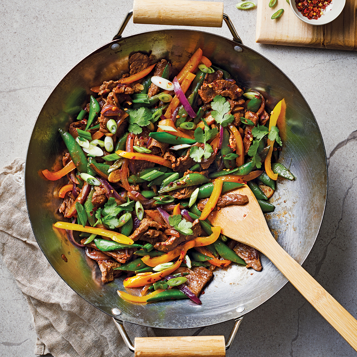 Turn to this beef stir-fry recipe for a quick and easy dinner. The tender, spicy steak is cooked in the same wok or skillet as the crisp, colorful vegetables and smells divine as the dish is cooking. Source: 400 Calorie Recipes