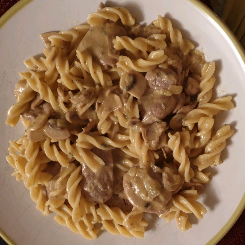 Pork with Linguine and Blue Cheese Mushroom Sauce