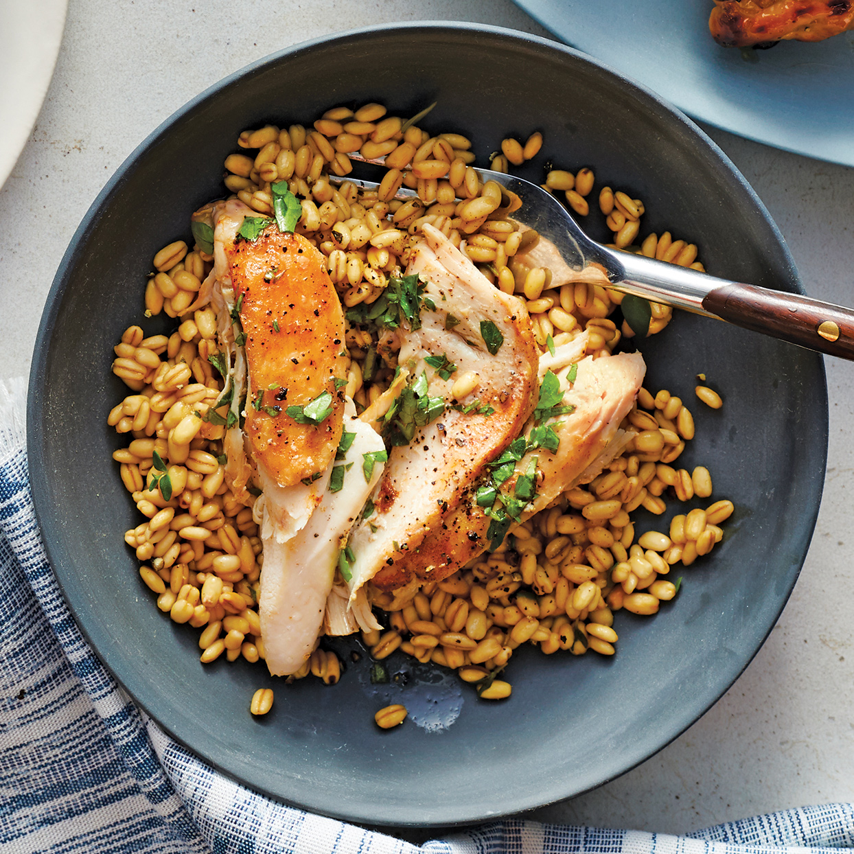 Pair earthy, toothsome barley with tender chicken dressed in a tangy white balsamic vinaigrette for a hearty main dish. This Instant Pot chicken recipe comes together in just 40 minutes, making it perfect for easy weeknight dinners.