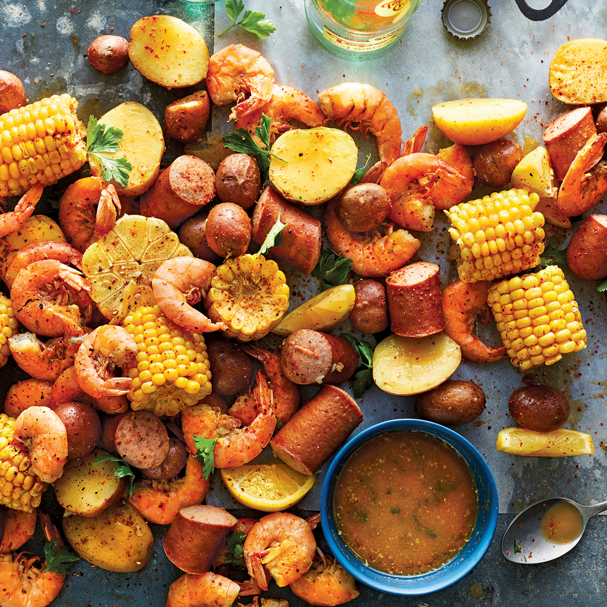 Use your multicooker for a traditional seafood boil dinner that doesn't feel light by any means. The potatoes are perfectly tender, the sausage is cooked and still juicy and flavorful, the corn is tender but not overcooked, and the shrimp are tender and pink. Source: 400 Calorie Recipes