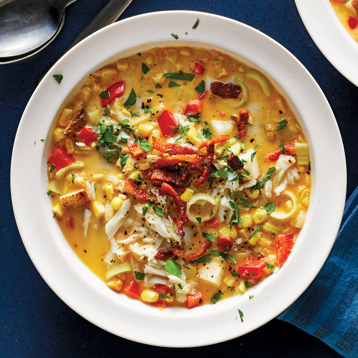 Sweet corn and tender lump crabmeat go together wonderfully to make this rich, hearty chowder. This colorful, quick and easy Instant Pot soup makes a great starter for a summertime meal. Source: 400 Calorie Recipes