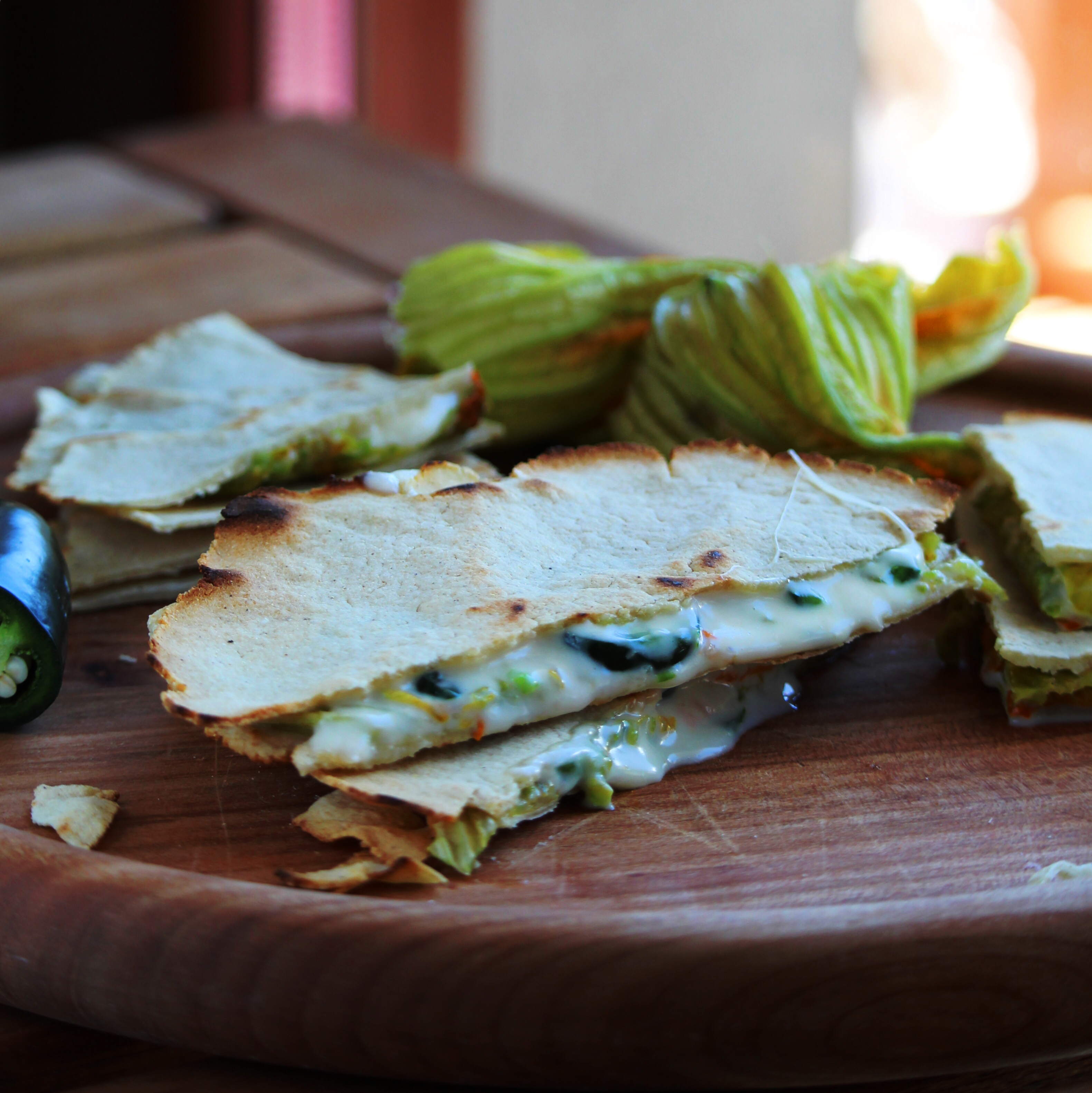 Quesadillas de Flor de Calabaza (Zucchini Blossom Quesadillas)