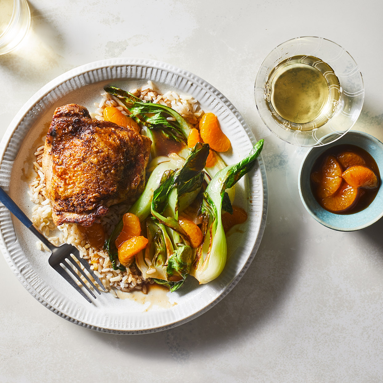 Searing the chicken before roasting at high heat ensures super-crispy skin. Combine that with mandarin oranges and you've got a healthy orange-chicken dish reminiscent of the favorite fried one at the mall food court--but without the fryer. Source: EatingWell Magazine, March 2020