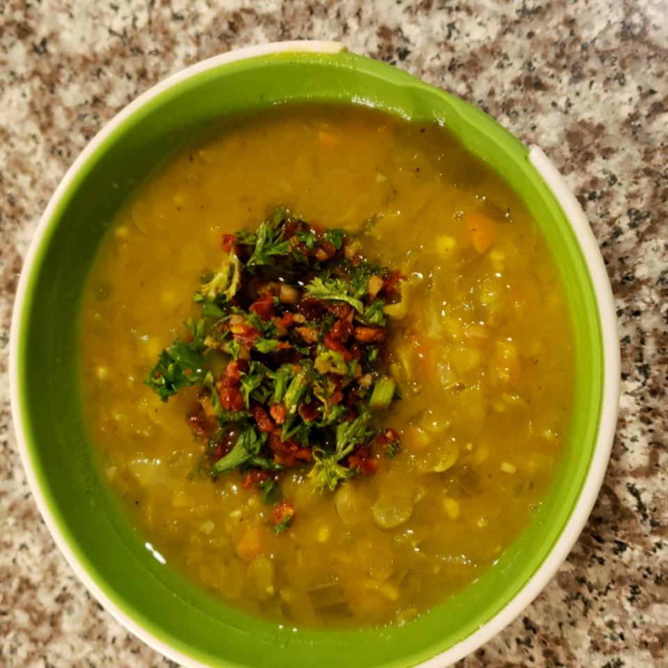Split Pea Soup with Sun-Dried Tomato Gremolata