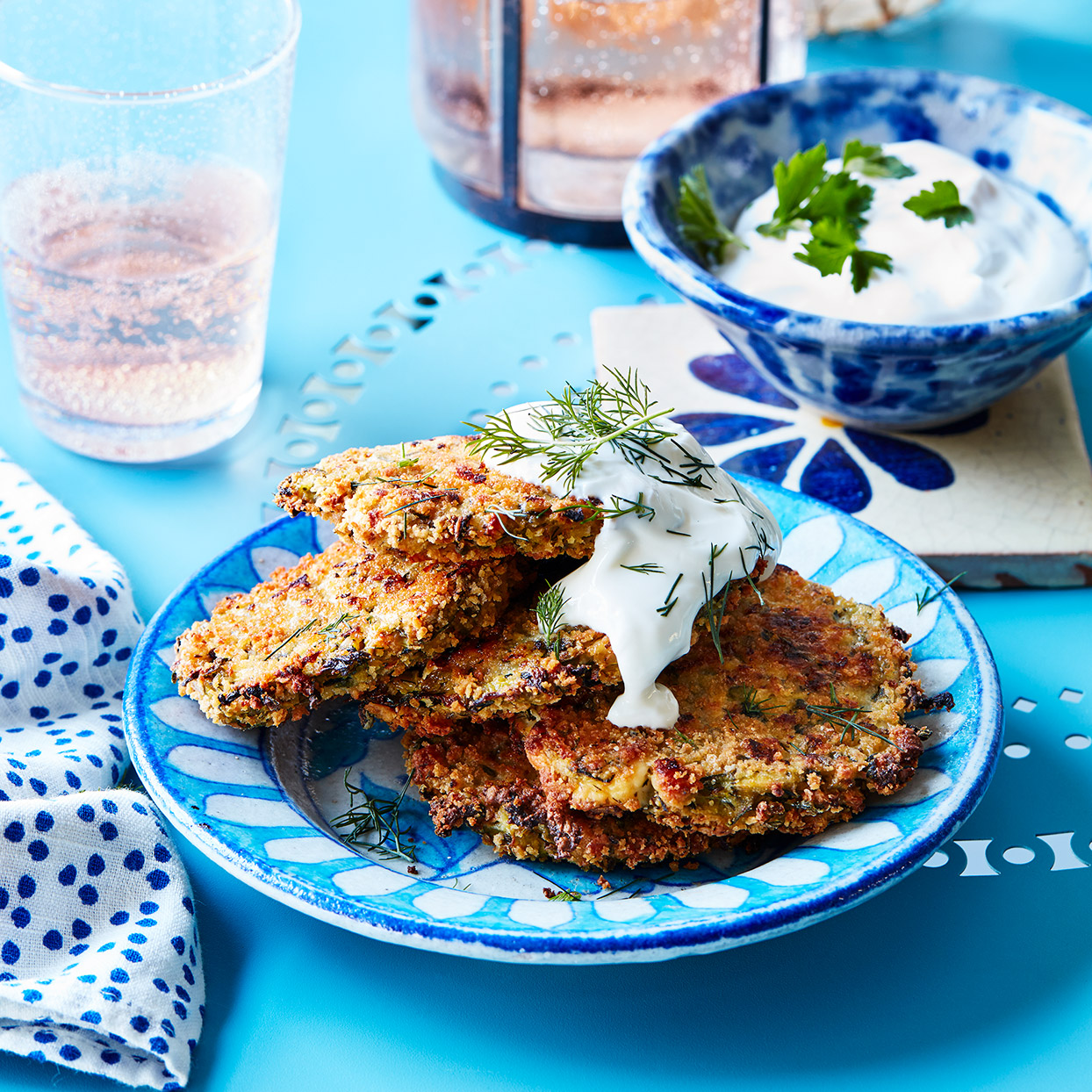Greeks nibble on these popular zucchini patties as a meze in tavernas while waiting for their main courses to arrive. Source: EatingWell Magazine, March 2020