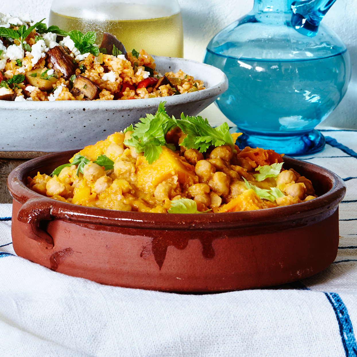 On Crete, chickpeas are commonly flavored with Seville orange, a pleasingly bitter variety grown locally. Orange zest along with lemon juice makes a good substitute. A little mustard deepens the flavor. Source: EatingWell Magazine, March 2020