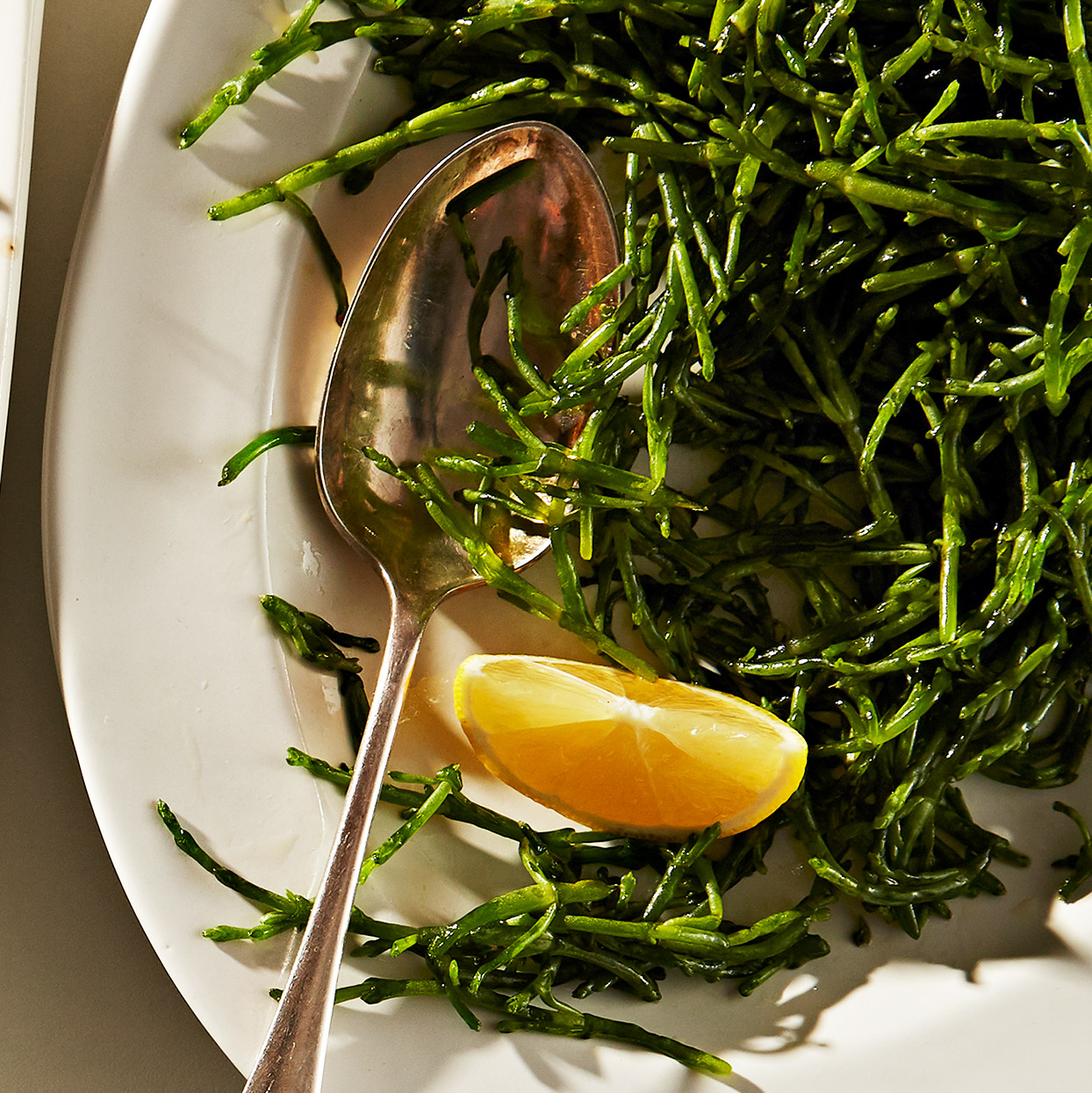 Called sea beans in the U.S., samphire is crunchy seaweed that adds brininess to dishes and can be eaten raw or cooked. Look for it in gourmet markets or fish markets or order online at melissas.com. Source: EatingWell Magazine, March 2020