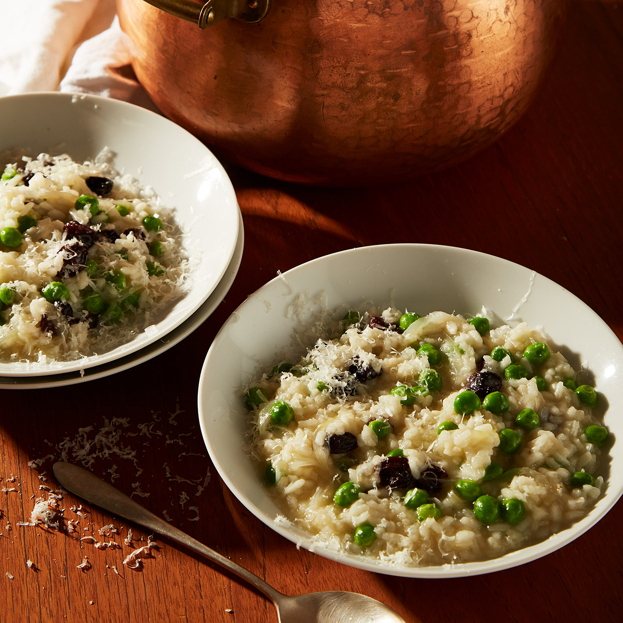 This risotto-like combo of rice and peas is made with a very cool technique that infuses the dish with one of the great tastes of spring. Source: EatingWell Magazine, March 2020