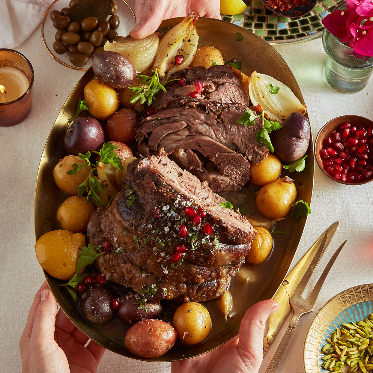 A long braise in the oven yields fork-tender results for a tough cut of lamb. Cinnamon, oregano, garlic and lemon infuse the lamb shoulder with Mediterranean aromas, while a final scattering of pomegranate arils provides a burst of color and crunch. Source: EatingWell Magazine, March 2020