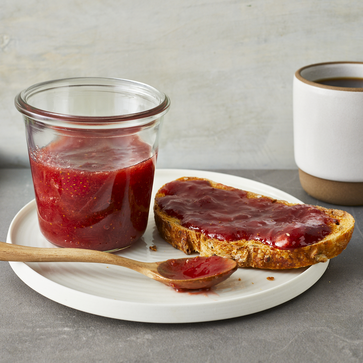 Tart rhubarb and sweet strawberries shine together in this easy strawberry-rhubarb jam. There's no canning involved and with fresh in-season strawberries, added sugar stays in check.