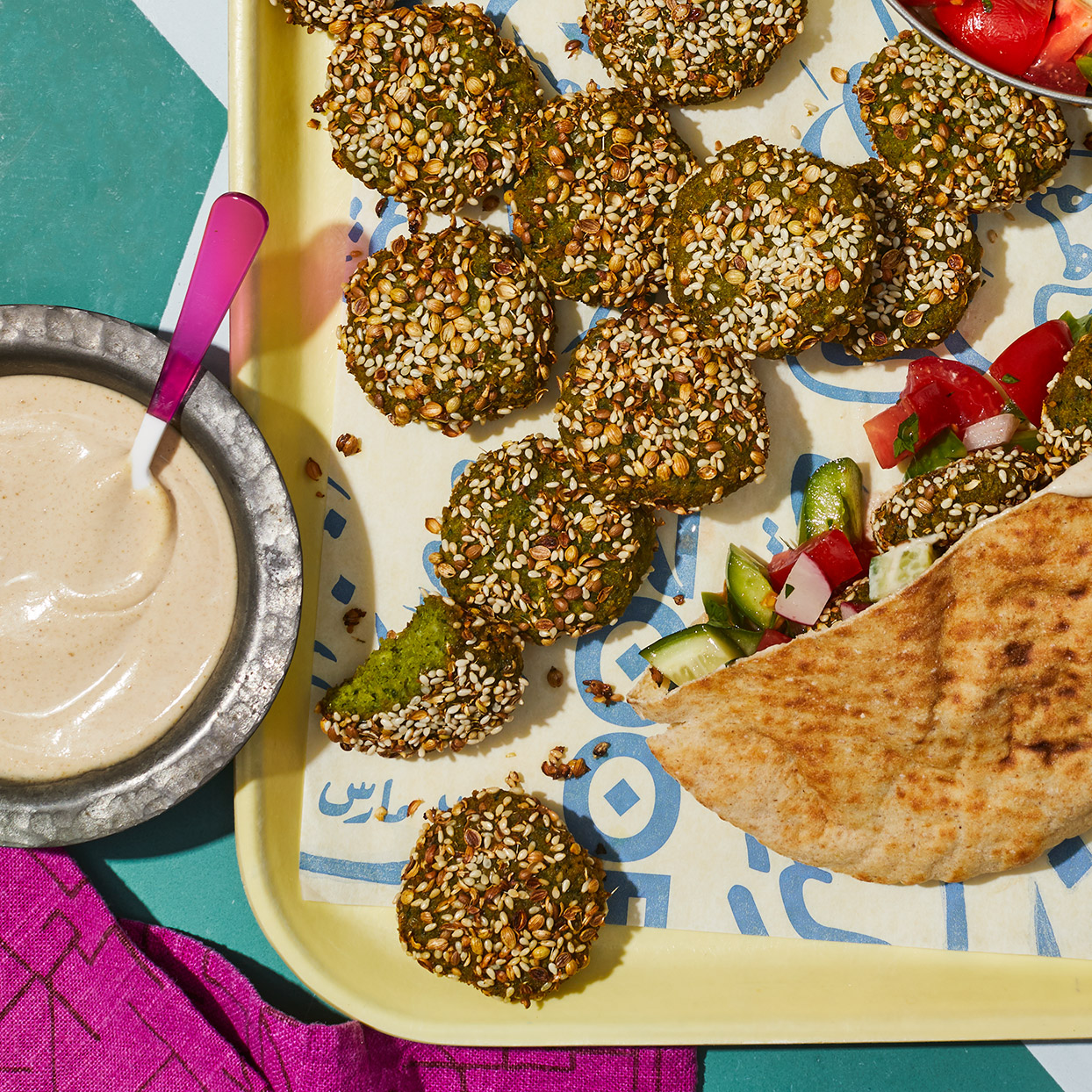 "The Arabic word taameya translates to ""tasty little bits."" This version, made with fava beans, which are plentiful in the Nile delta, is thought by some to be the original falafel. (Recipe adapted from Zooba Restaurant.) Source: EatingWell Magazine, March 2020"