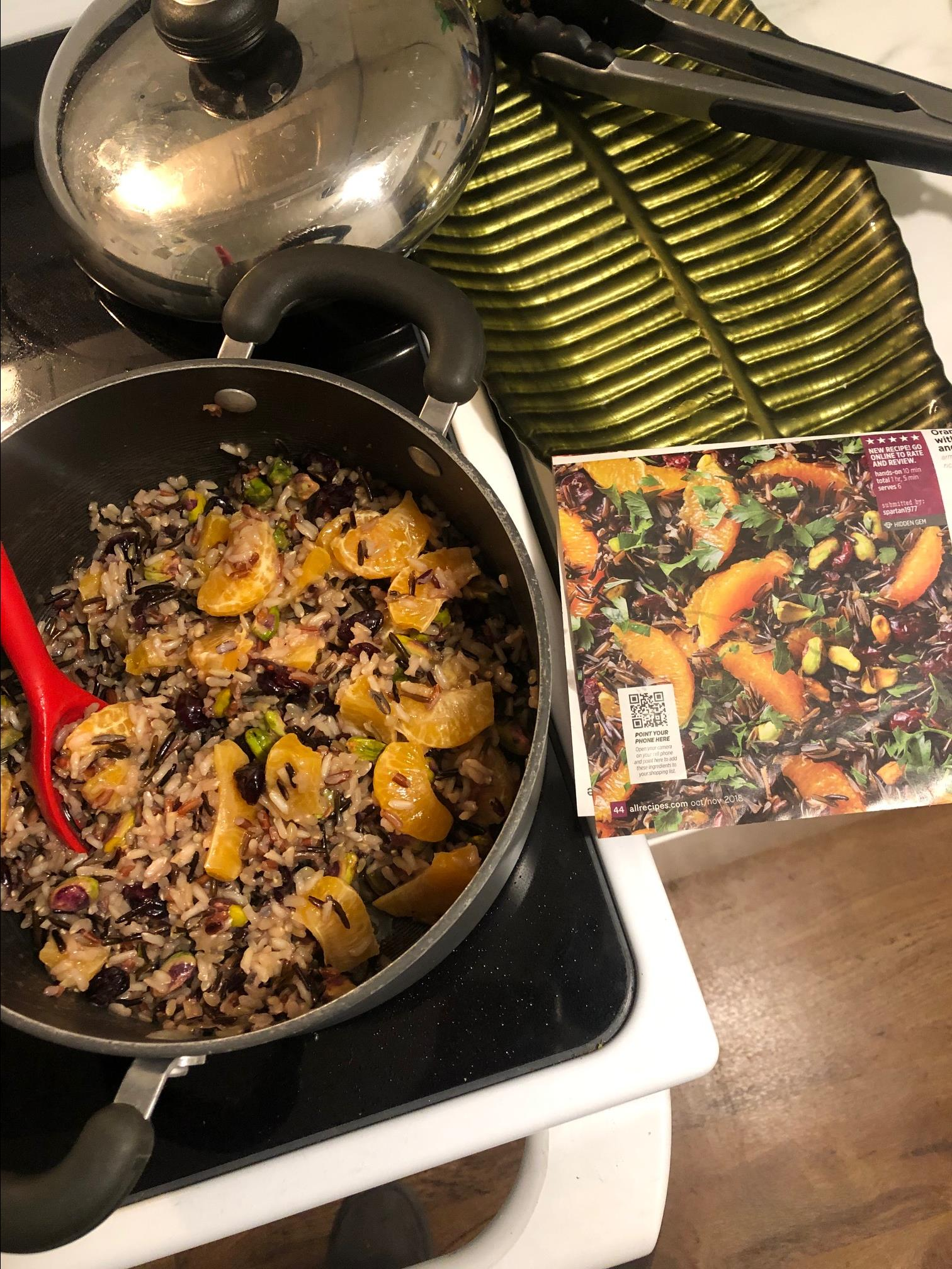 Orange Wild Rice with Pistachios and Cranberries