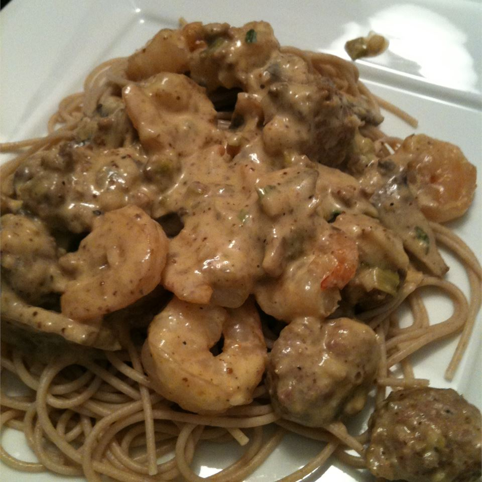 Shrimp and Andouille Sausage with Mustard Sauce Tartsul