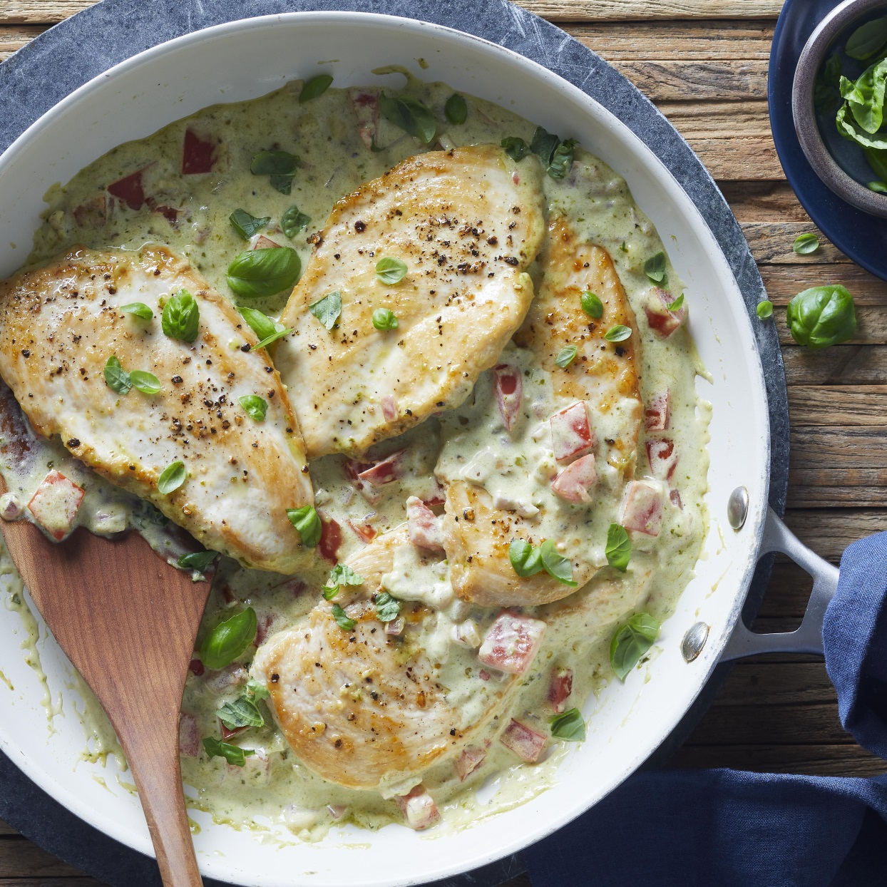 Serve these quick chicken cutlets with creamy pesto sauce over your favorite pasta or zucchini noodles. This easy dinner recipe is sure to become a new family favorite. Source: EatingWell.com, February 2020
