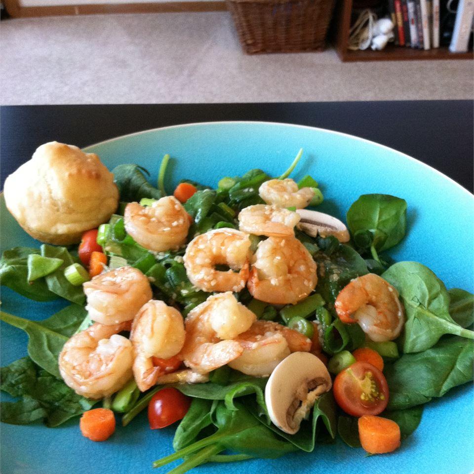 Grilled Shrimp Salad with Sesame Ginger Vinaigrette kellieann