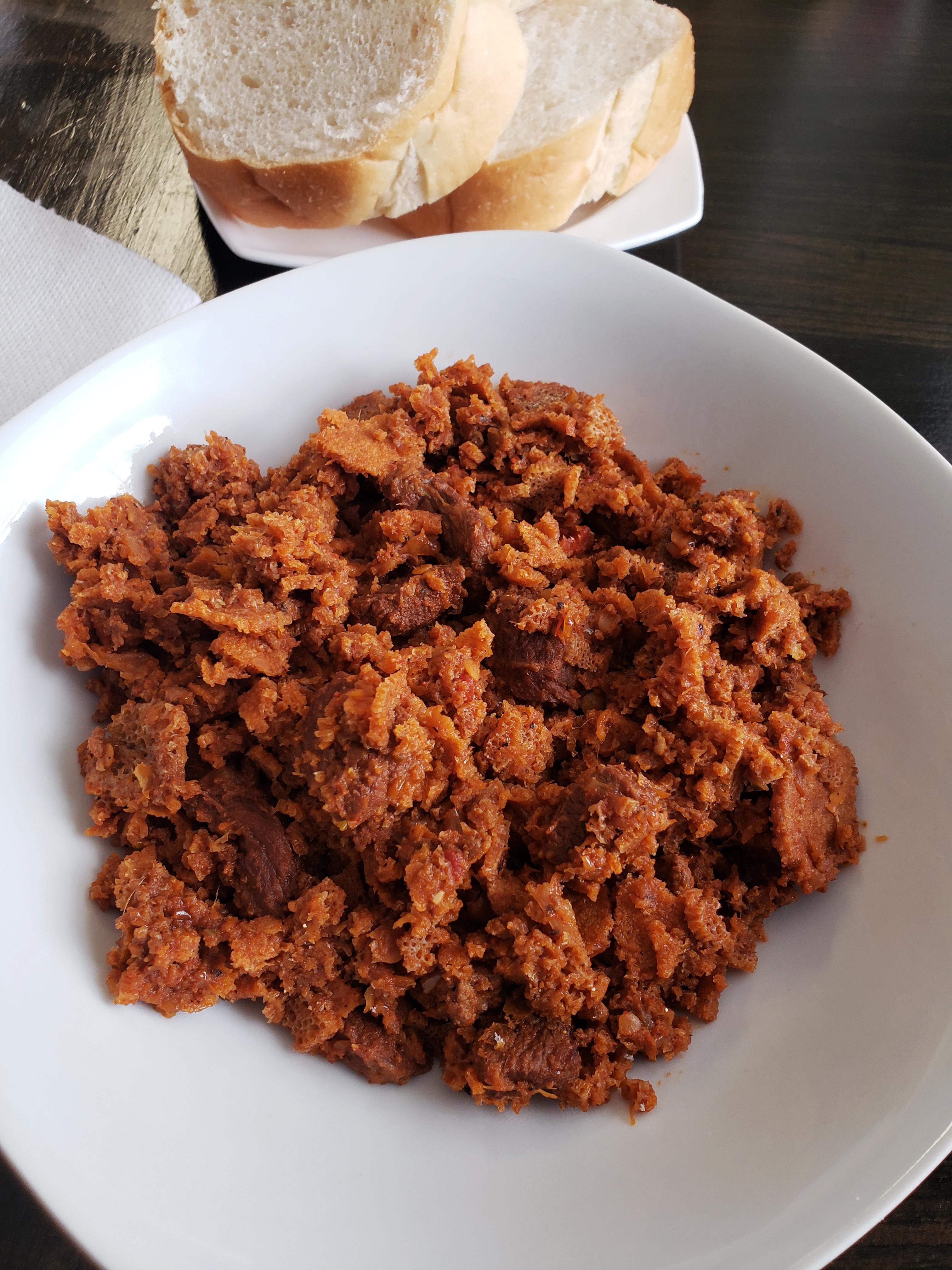 Ethiopian Firfir with Dried Beef (Quanta Firfir)