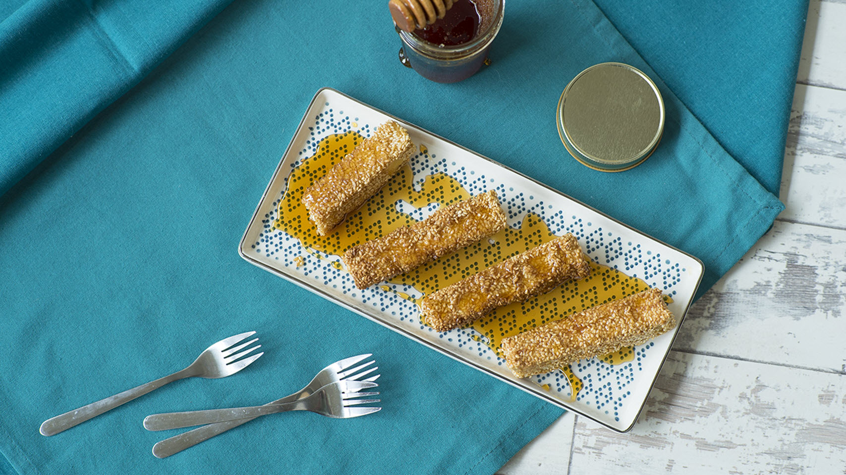 Crispy Sesame Feta Fingers with Honey