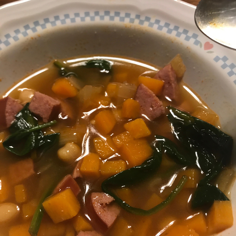 Smokey Sausage, Kale & Sweet Potato Soup