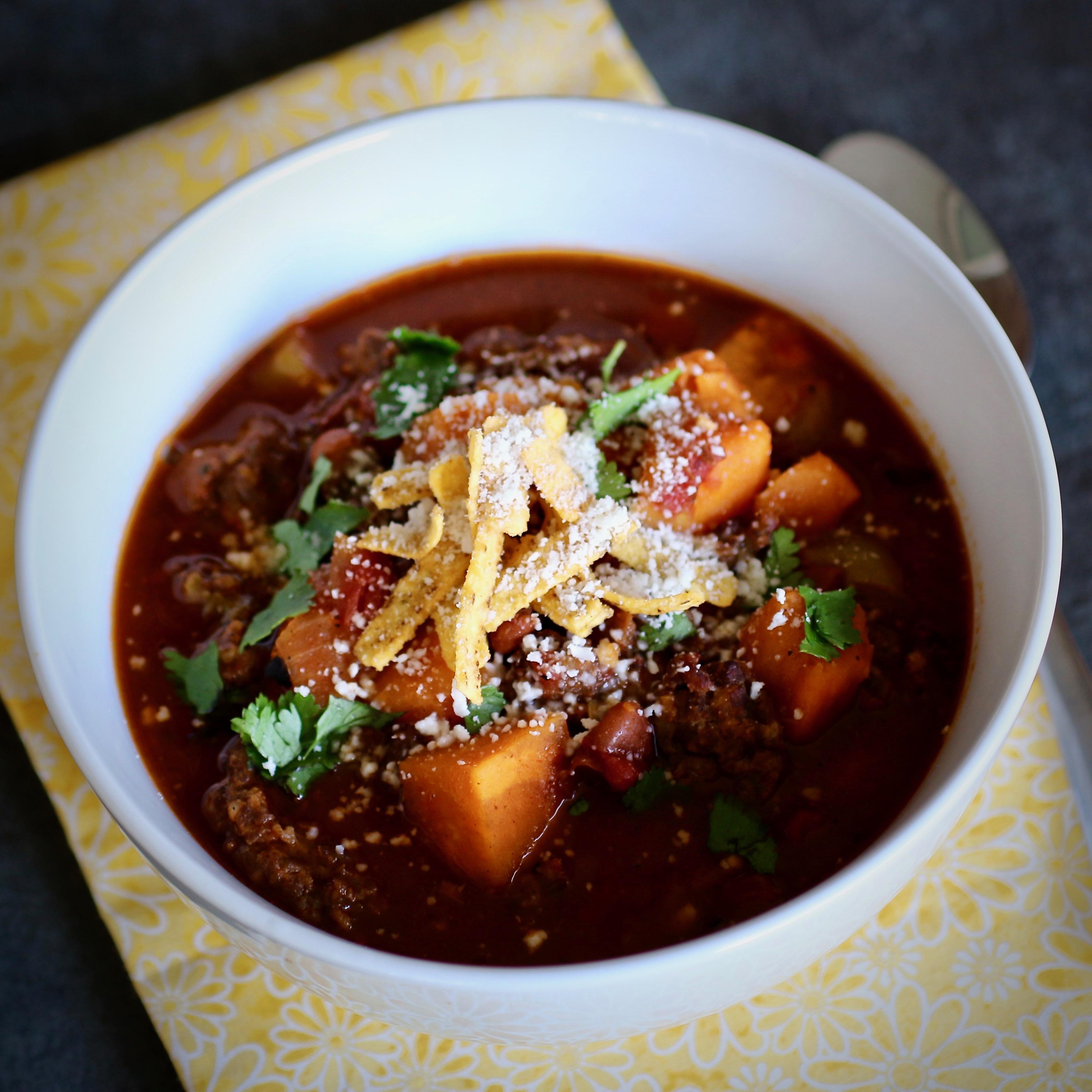 Slow Cooker Sweet Potato and Chorizo Chili