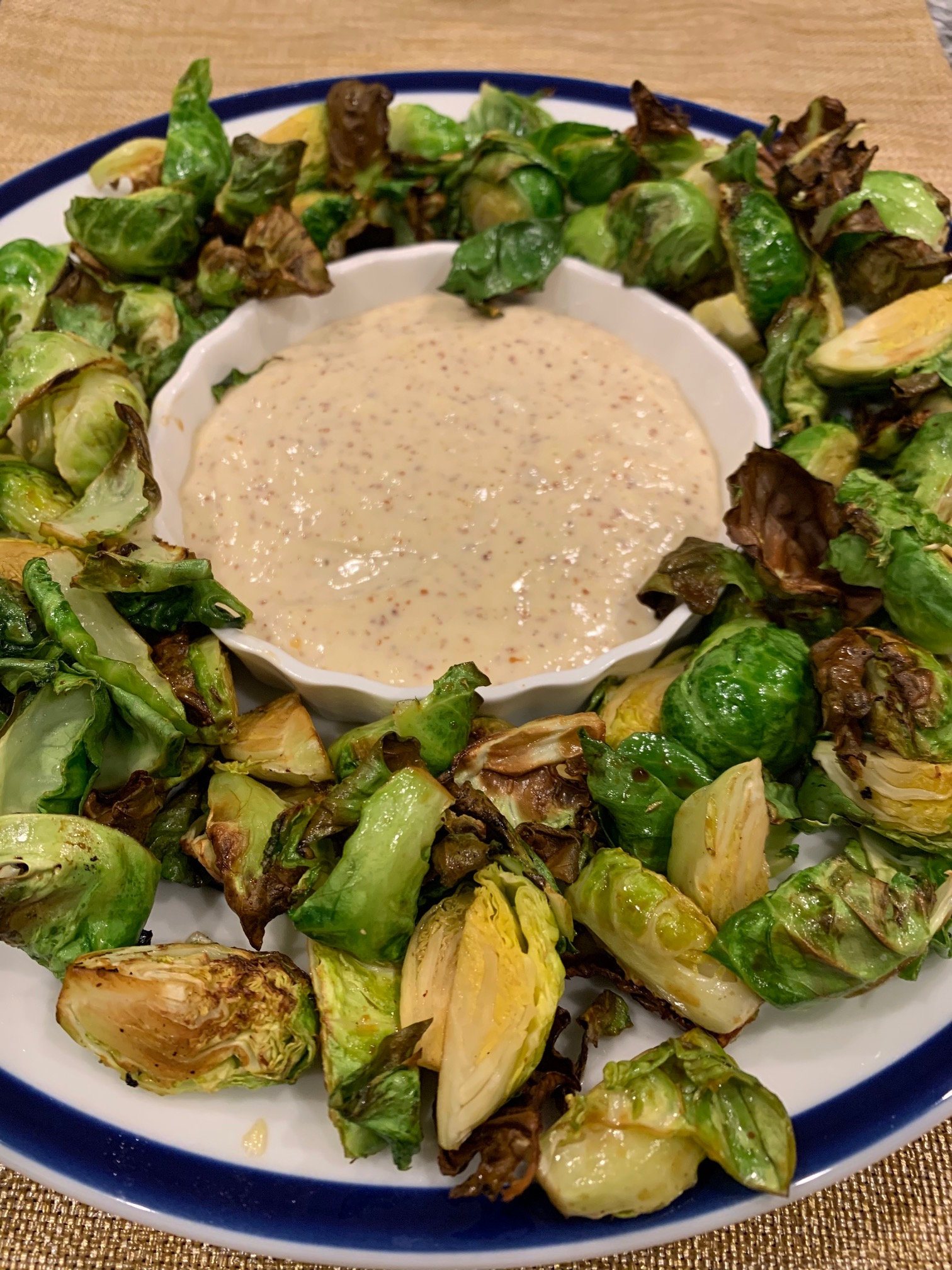 Air Fryer Roasted Brussels Sprouts with Maple-Mustard Mayo Howard