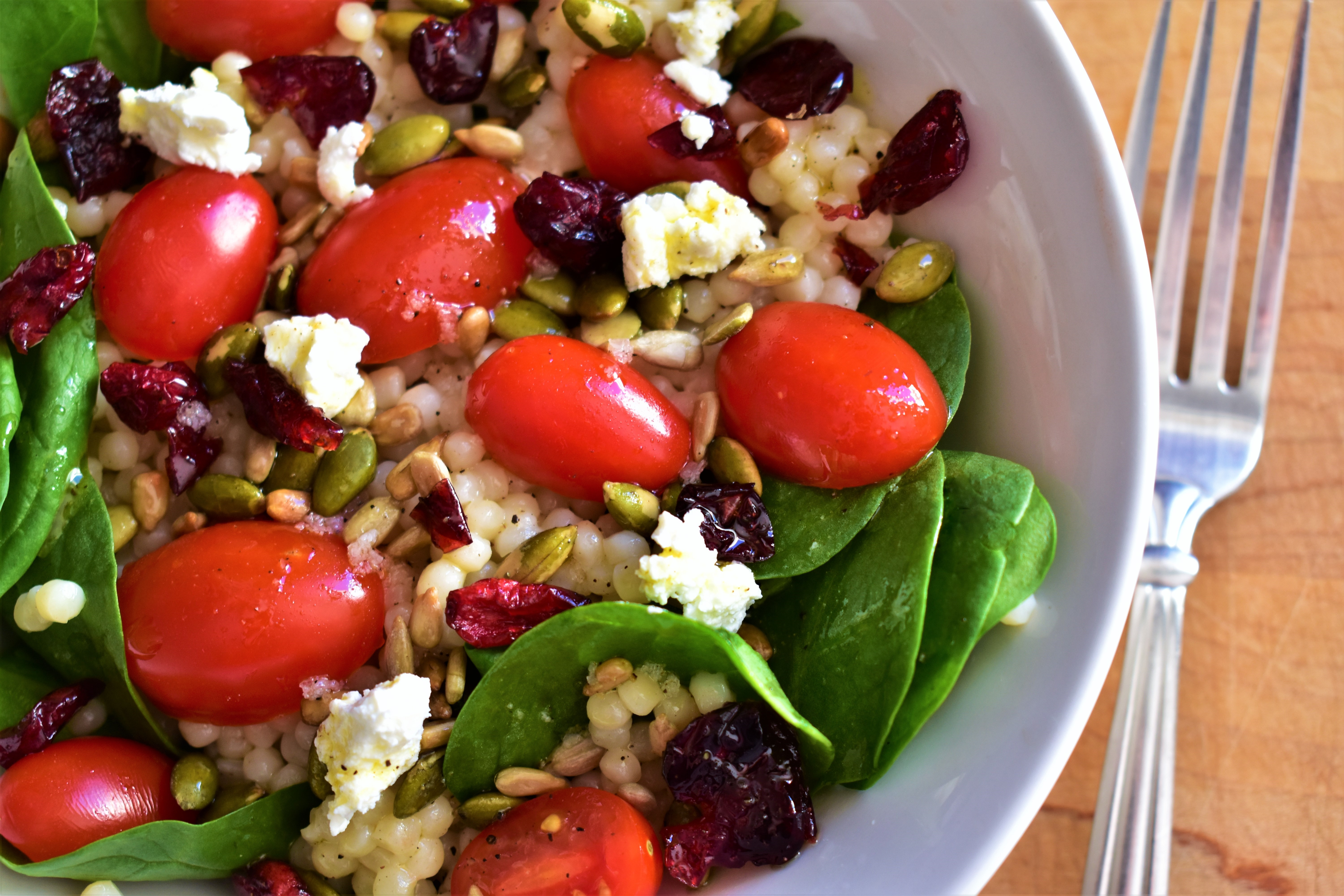 Couscous Salad with Kale, Tomatoes, Cranberries, and Feta