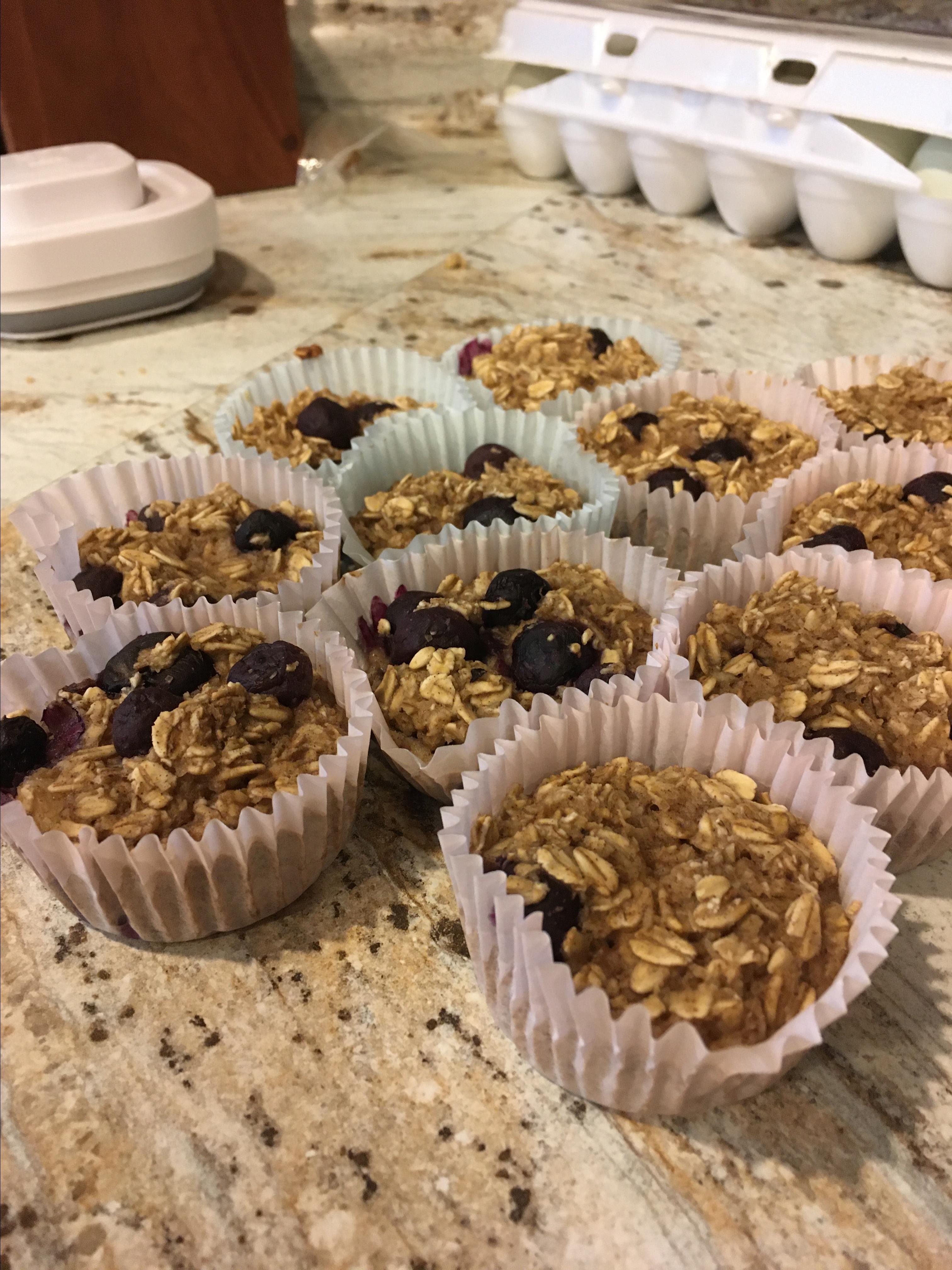 Vegan Blueberry and Banana Oatmeal Muffins
