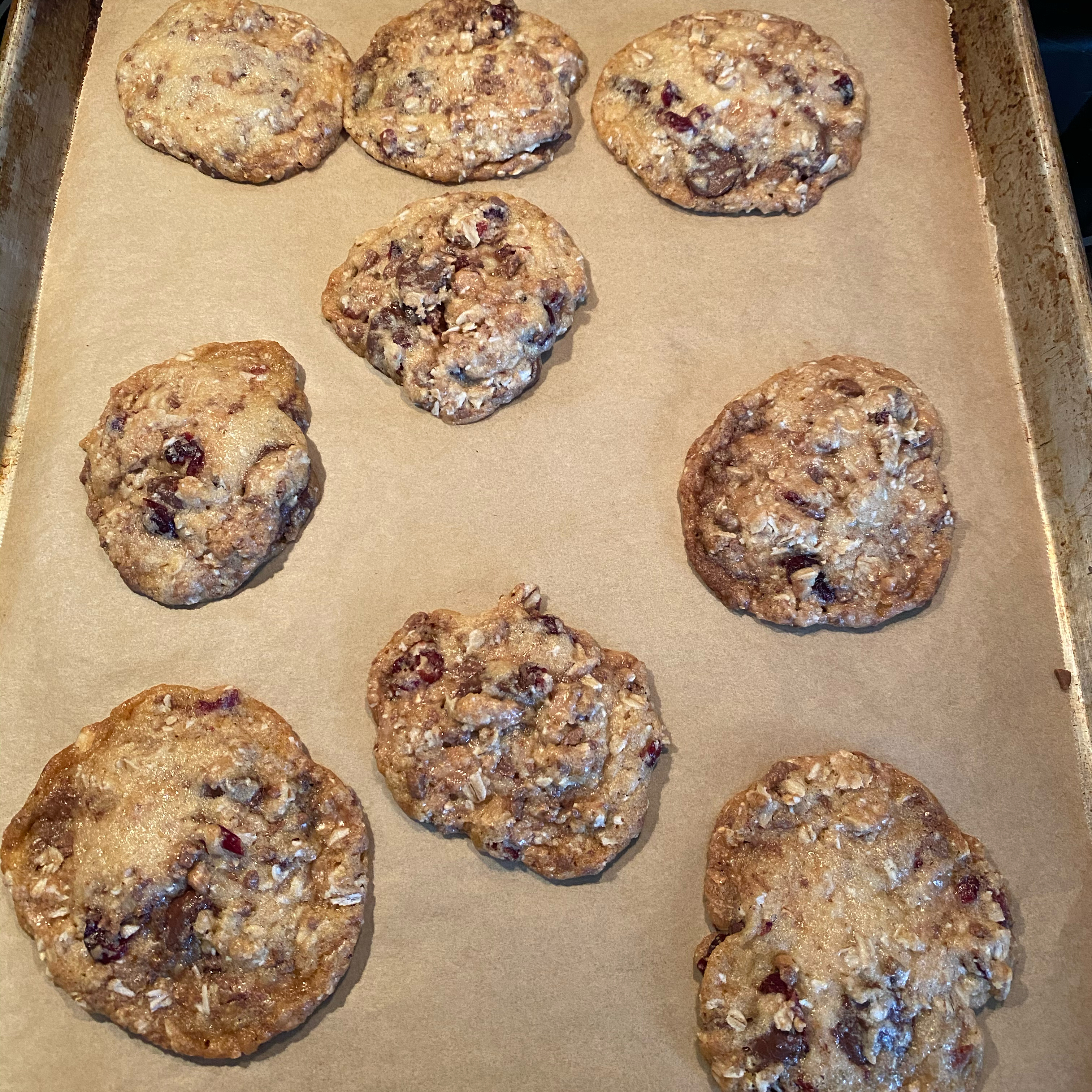 Chewy Chocolate-Toffee-Oatmeal Cookies with Cranberries Kathy Haley Chipps