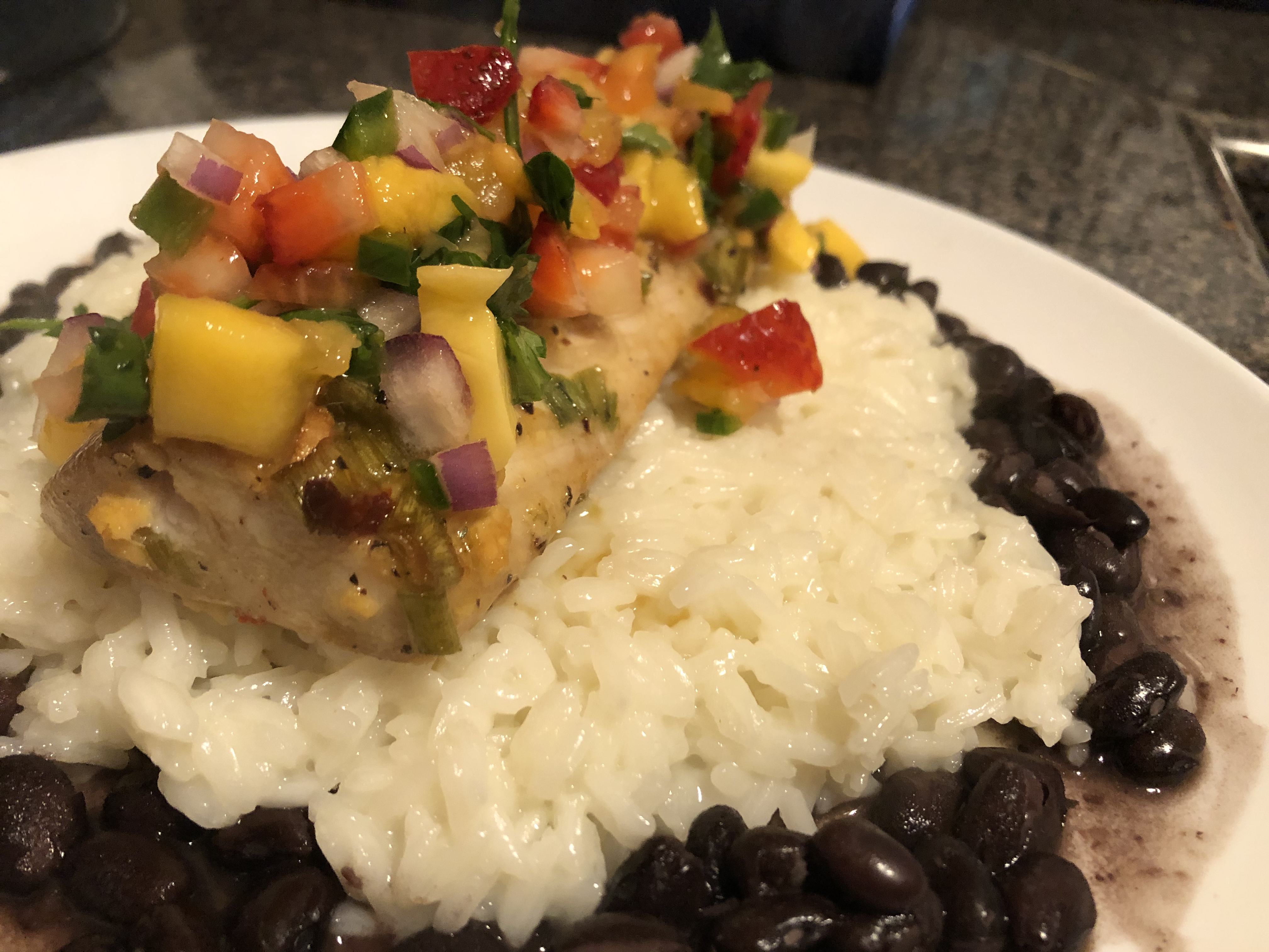 Mahi Mahi with Coconut Rice and Mango Salsa