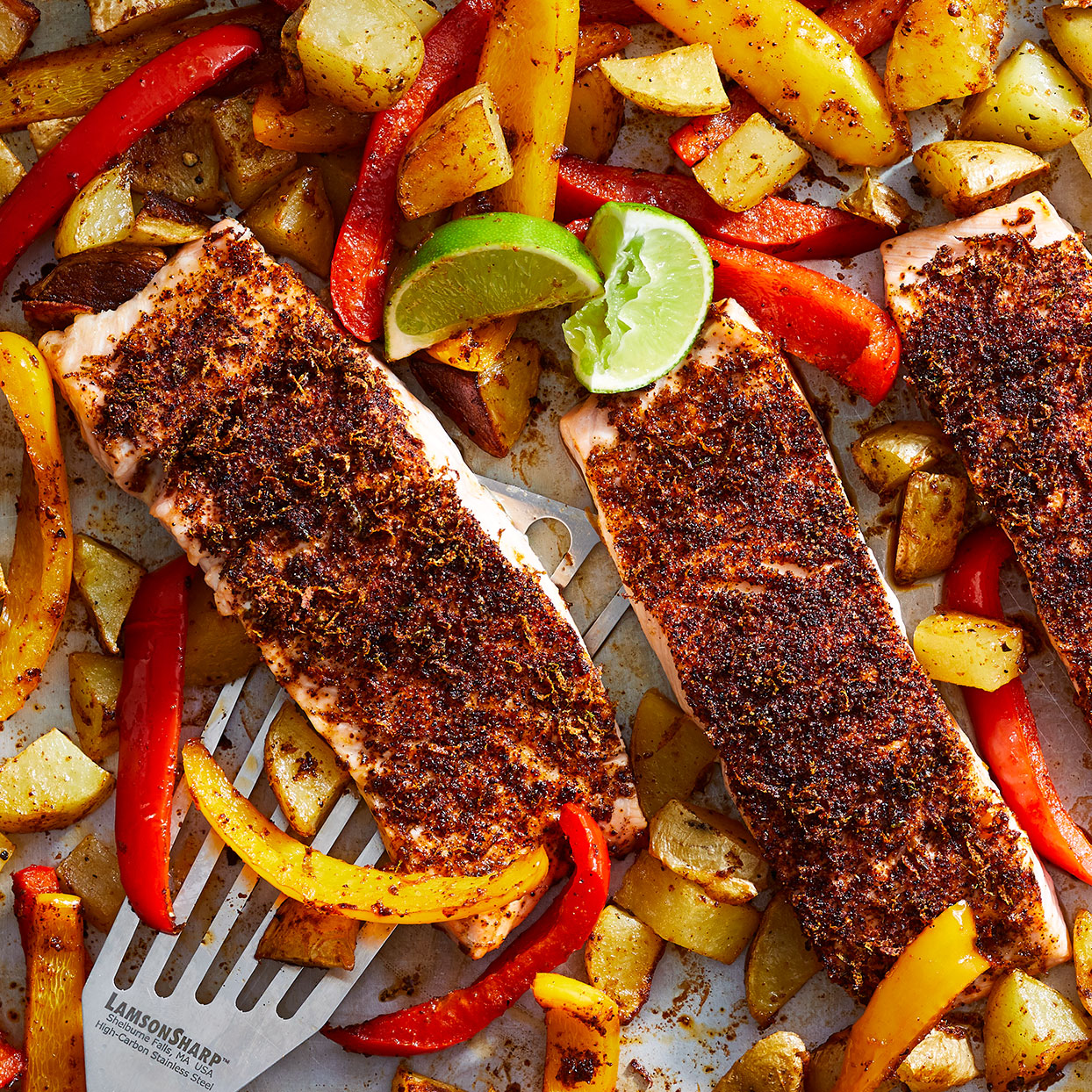 Busy weeknights beg for something simple like this salmon sheet-pan dinner. Like the name suggests, it's all cooked on one pan. The potatoes get a head start, followed by sweet bell peppers and finally chili-coated salmon fillets. It's a complete meal with easy cleanup!