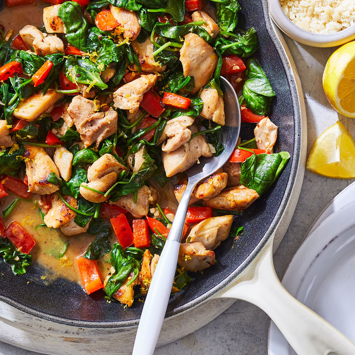 Skillet Lemon Chicken with Spinach