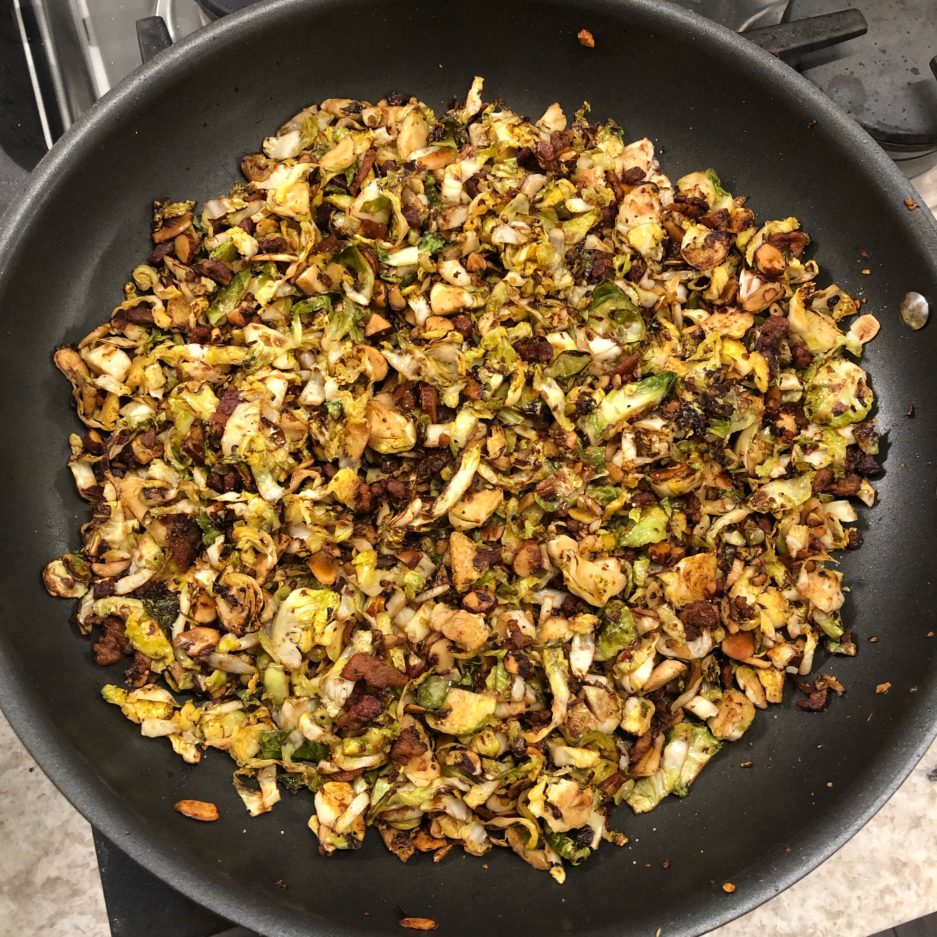 Shaved Brussels Sprouts with Bacon and Almonds RFalgout