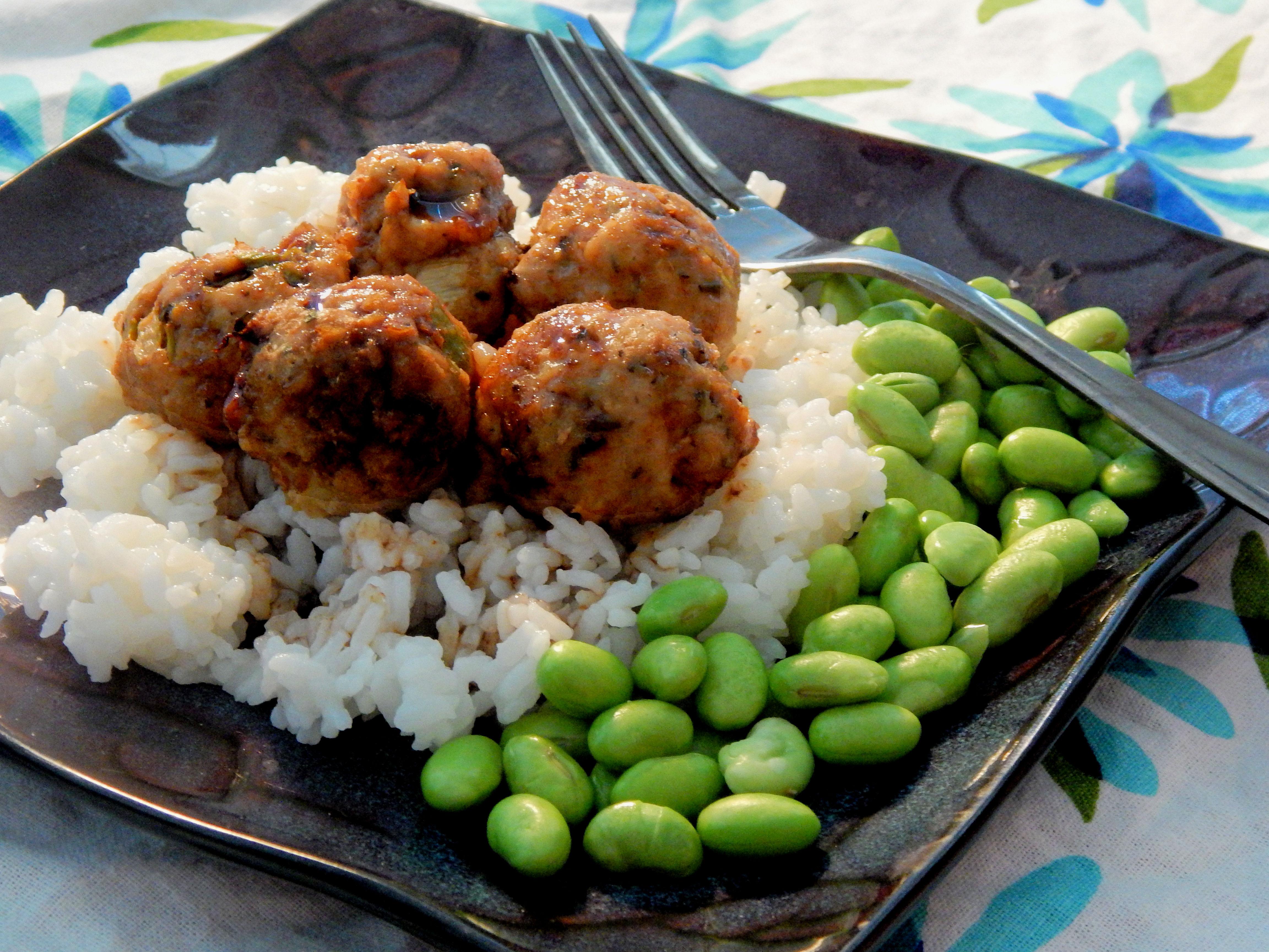 Asian Turkey Meatballs with Chile-Garlic Glaze