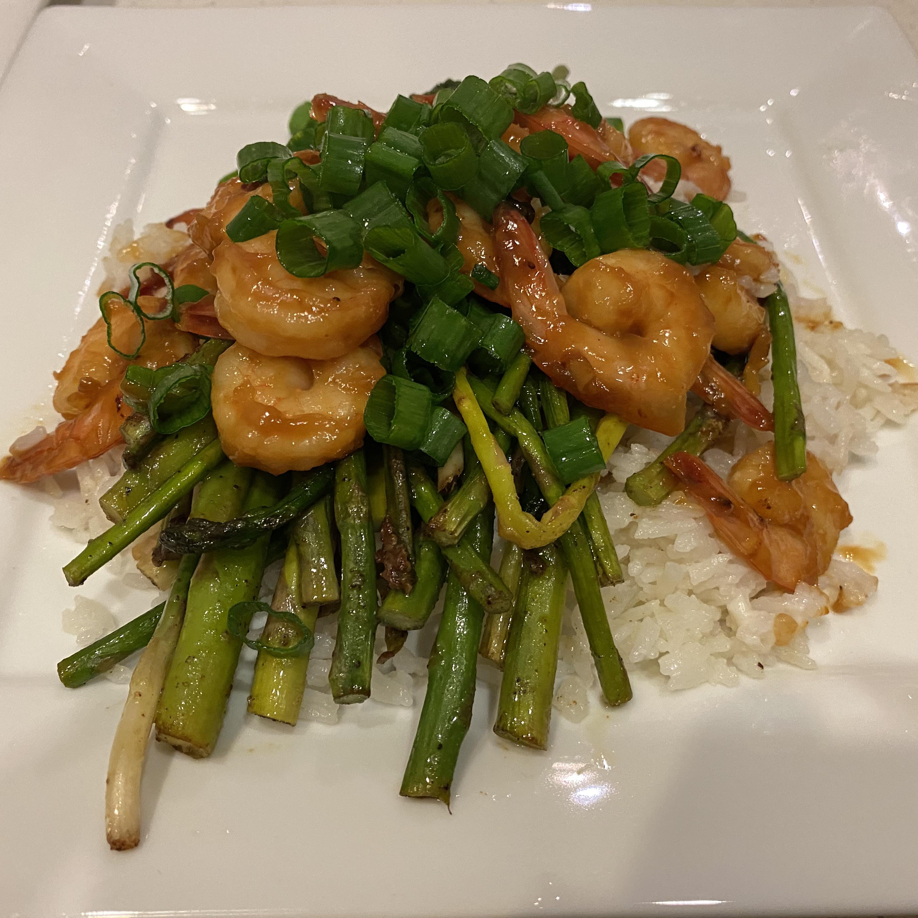 Grilled Teriyaki Prawns with Asparagus and Coconut Rice EvyBear