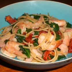 Shrimp, Broccoli, and Sun-dried Tomatoes Scampi with Angel Hair kellieann