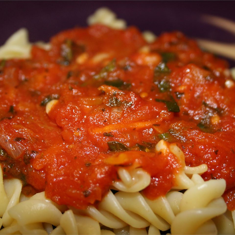 """Veggie packed pasta sauce prepared in the slow cooker,"" says DEBNJAMES. ""Note -- this is a sweet and spicy tomato sauce so adjust the seasonings (salt, pepper and garlic) to suit your taste!"""