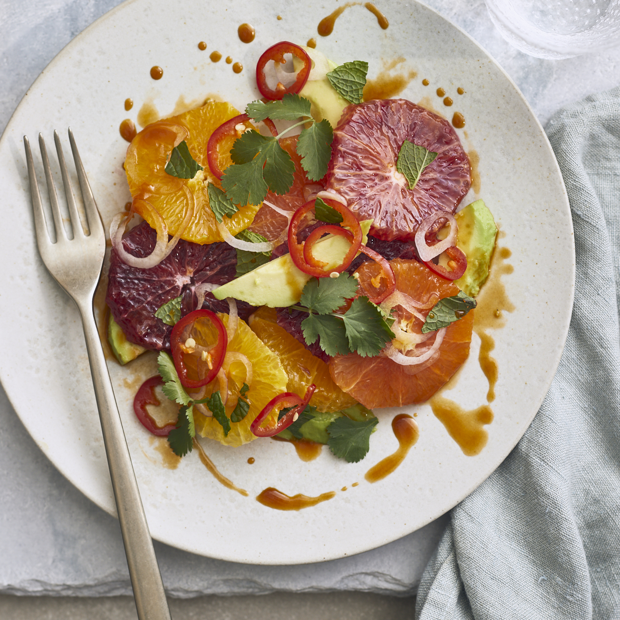 This gorgeous salad, packed with vitamin C, will help keep you and your friends healthy during the winter months. Hot chili oil brings the heat in the dressing, while toasted sesame oil adds a nutty note. Creamy avocado and cooling mint balance out the flavors.Source: EatingWell.com, March 2020
