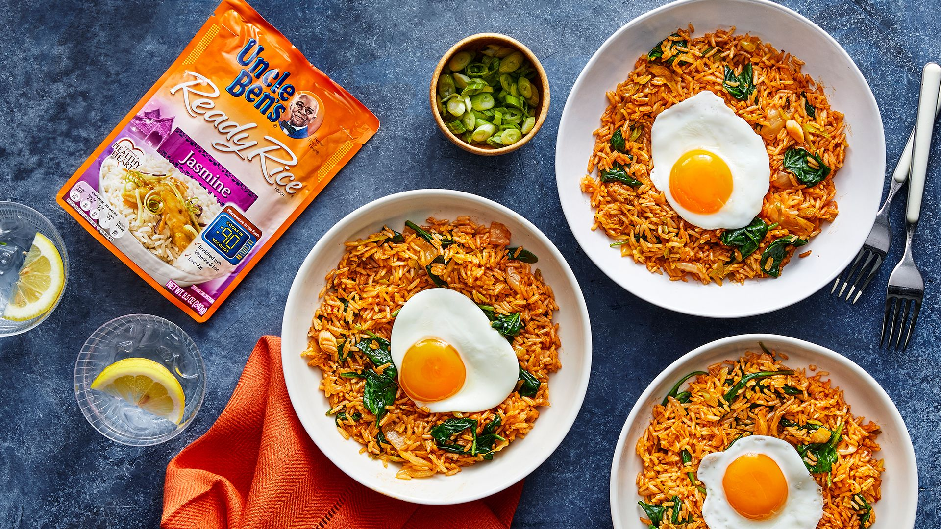 Kimchi Fried Rice with Frizzled Eggs Uncle Ben's