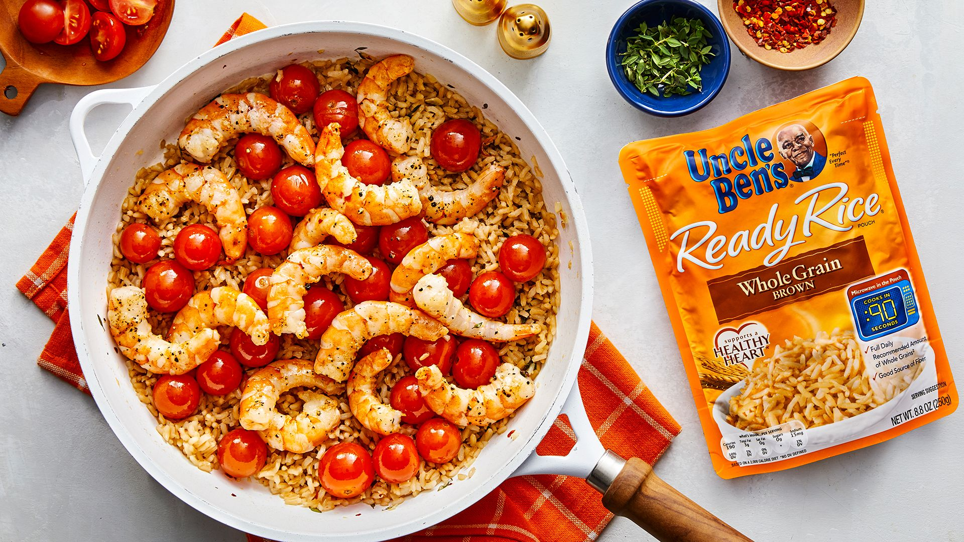 Garlic Shrimp & Rice with Blistered Cherry Tomatoes Uncle Ben's