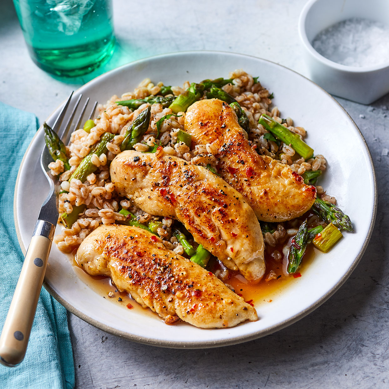 Honey-Mustard Chicken with Asparagus Farrotto