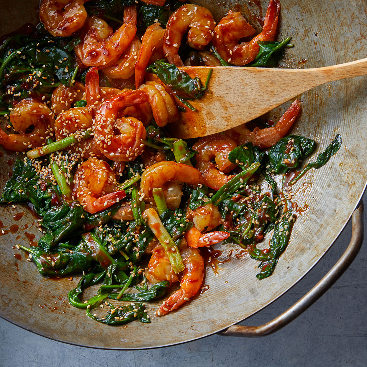 This stir-fry recipe calls for buying shrimp that's already peeled and deveined, which saves you about 10 minutes of prep time. Want this on the milder side? Swap ketchup for the chili-garlic sauce. Source: EatingWell Magazine, April 2020