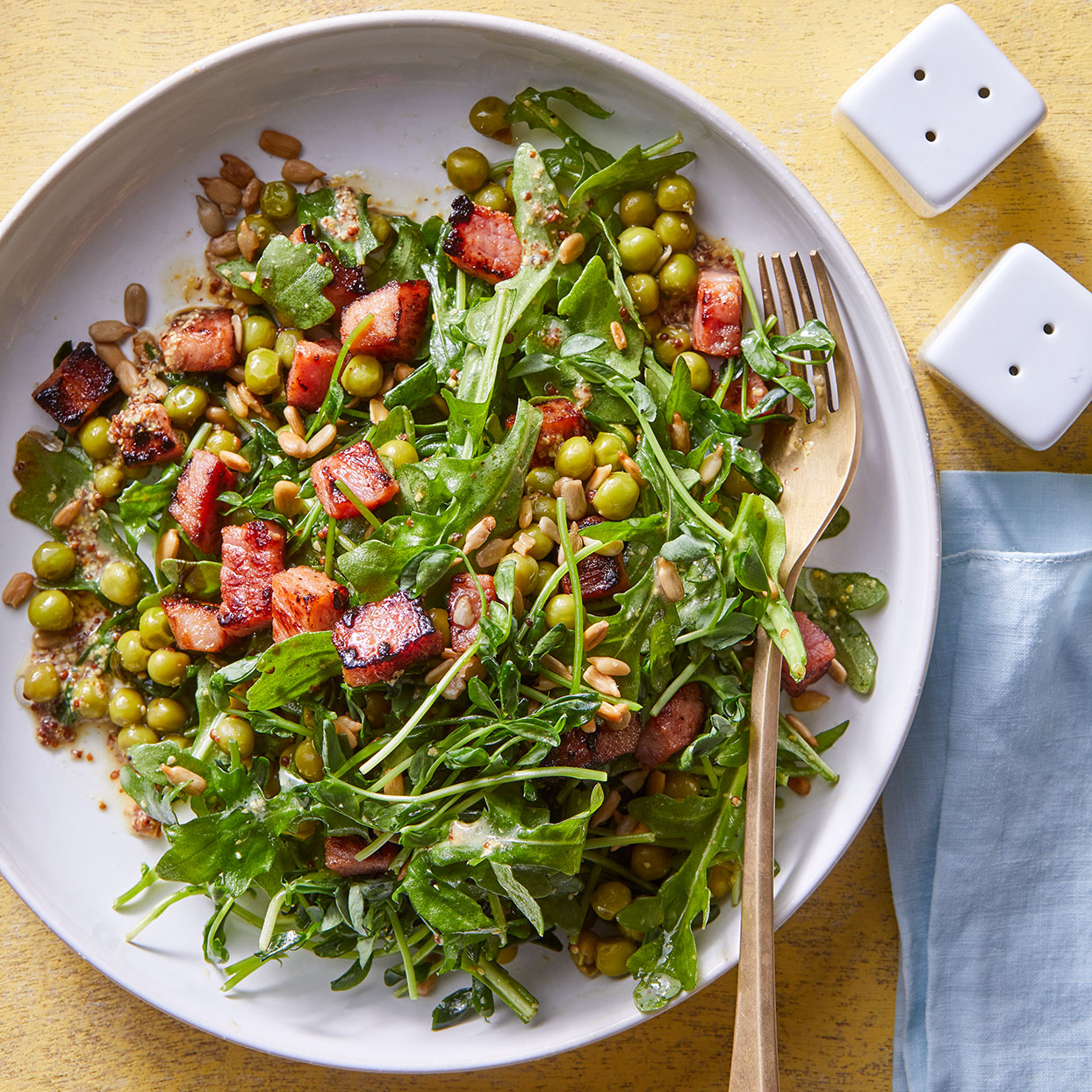 Pea shoots are the tender leaves and stems of sugar snap pea plants--not to be confused with the more delicate pea sprouts, which, like microgreens, are the sprouted seeds. Turn leftover ham into a crouton-esque topping with a quick sear in a hot pan. Source: EatingWell Magazine, April 2020