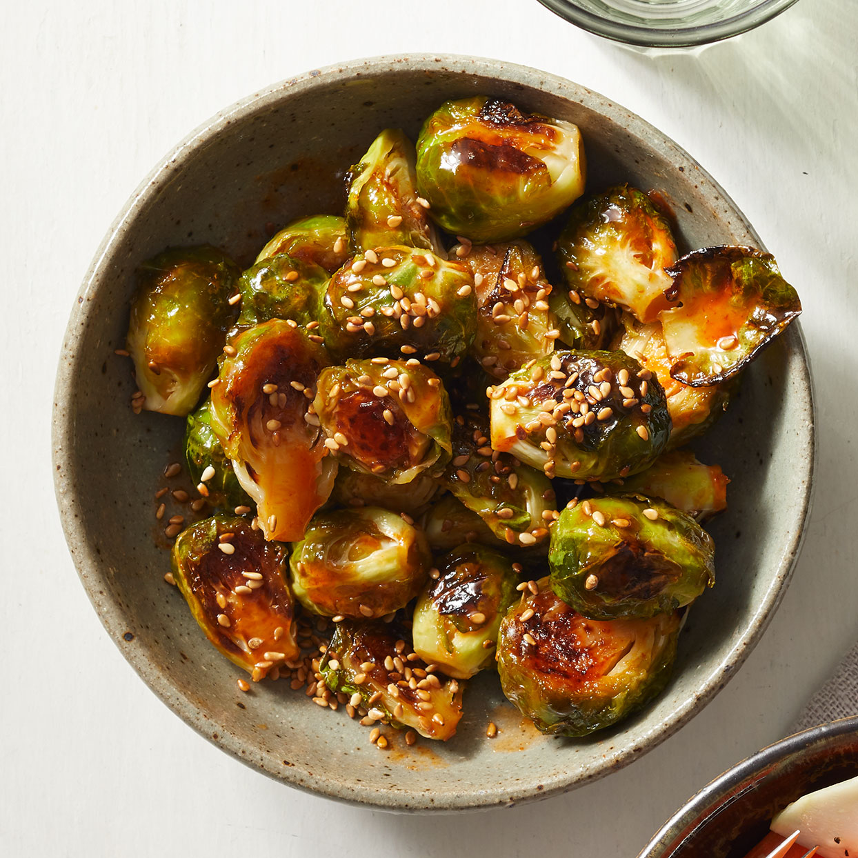 Honey-Chile Glazed Baked Brussels Sprouts