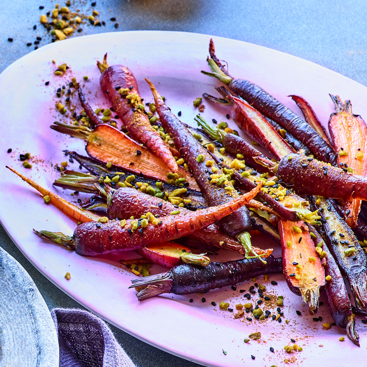 We love how the Egyptian nut, seed and spice blend dukkah adds aroma, flavor and texture to this otherwise simple purple carrot recipe. Source: EatingWell Magazine, April 2020