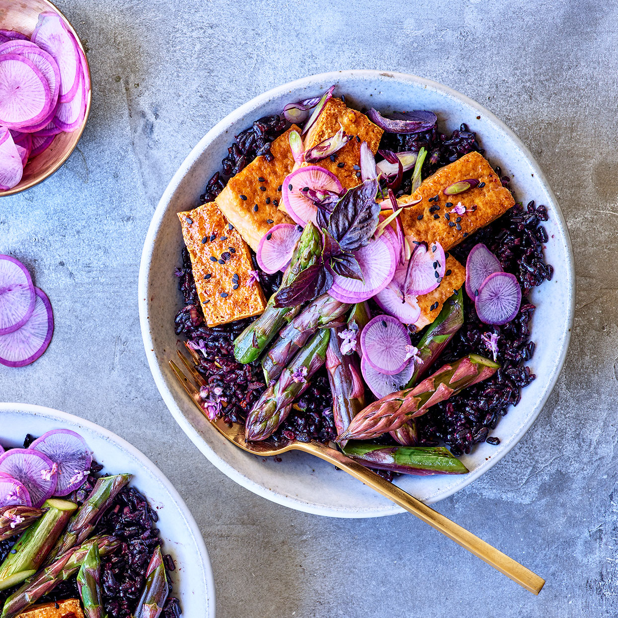 Coconut Black Rice Bowls with Tofu & Purple Asparagus Trusted Brands