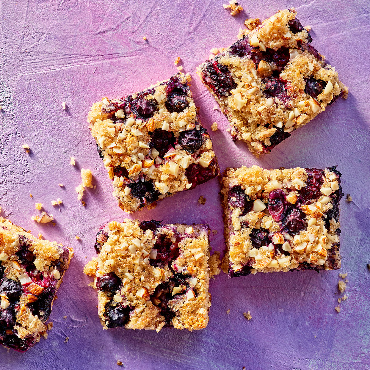 These incredibly easy-to-make cake bars get a touch of sparkle and crunch from a sprinkle of turbinado sugar over the top. If you use frozen berries, thaw and pat them dry before topping the batter with them. Source: EatingWell Magazine, April 2020