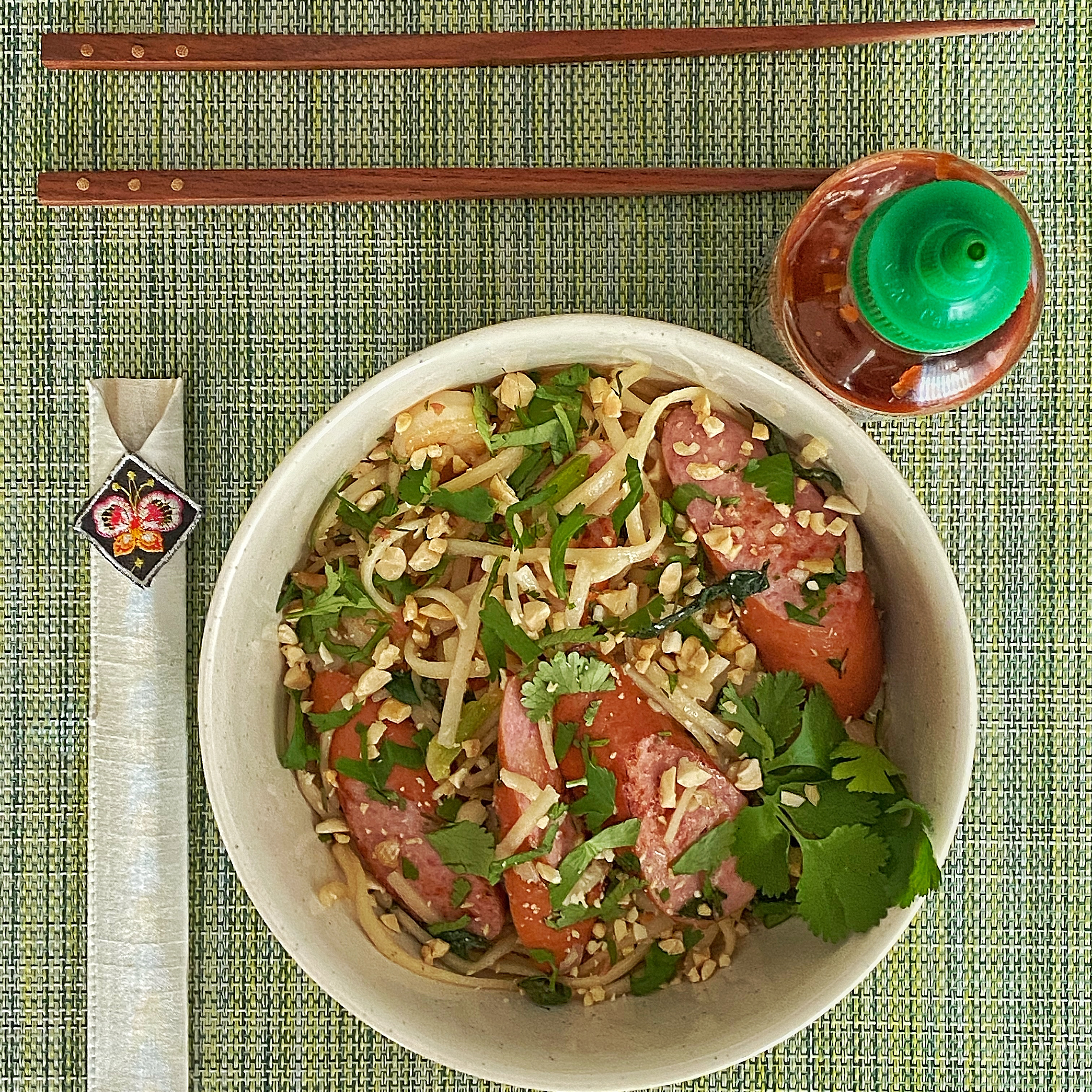 Easy Pad Thai with Shrimp and Hillshire Farm® Smoked Sausage