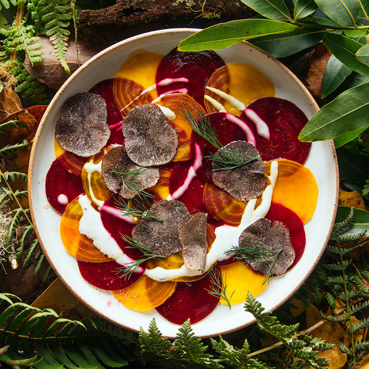 Put a vegetarian spin on this classic Italian dish. Thin slices of beet, glossy with olive oil, make this salad look like beef carpaccio, especially if you use red beets. Source: EatingWell Magazine, April 2020